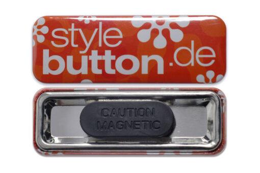 rechteckiger Button 70x25 mm mit Kleidungmagnet