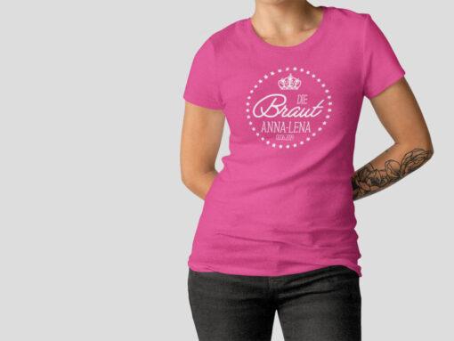 Hennight Tshirt Braut fuchsia / pink