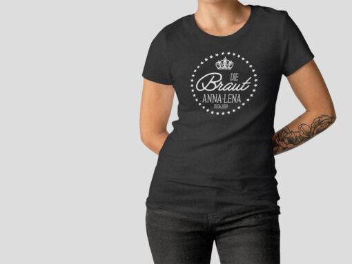 Hennight Tshirt Braut schwarz