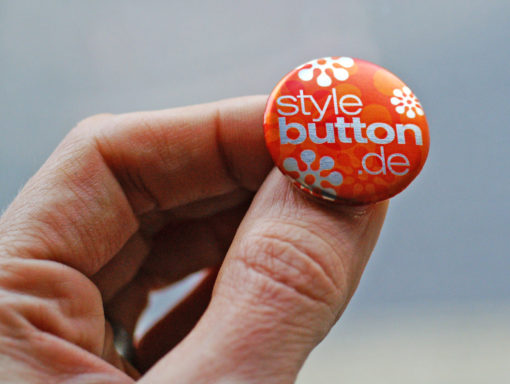 metallic button hand Buttons 25 mm mit Spangenclip