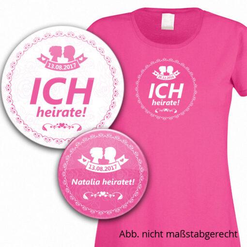 Buttons und T-Shirt mit Brautpaar-Silhouette in pink/fuchsia mit Datum personalisiert