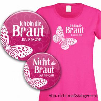 Junggesellinnenabschied-Set: Buttons und Shirt für die Braut Modell 8 personalisiert