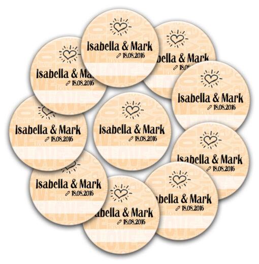 10 Buttons love n heart für die Hochzeit zum Beschriften