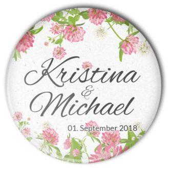 """Hochzeit Button """"Sommerklee"""": frisches, sommerliches Motiv mit Personalisierung"""