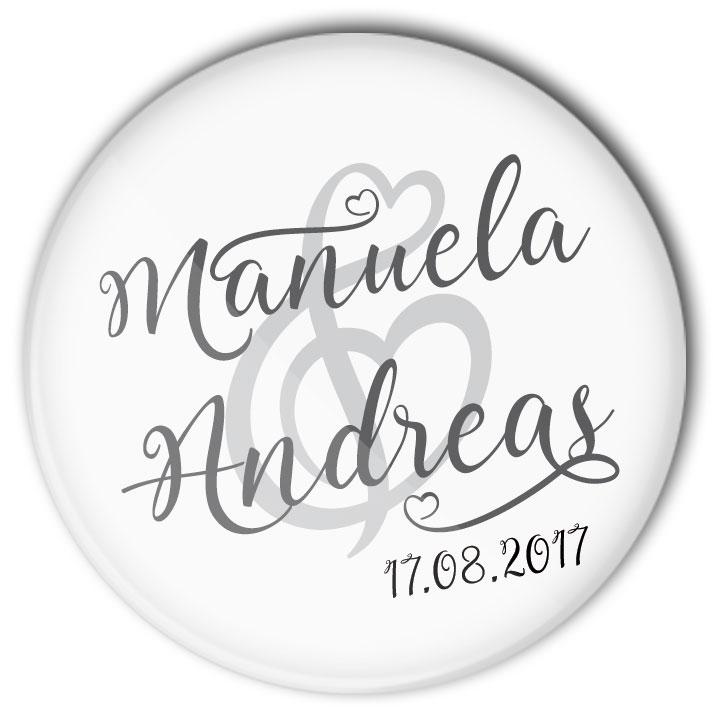 Hochzeit Anstecker Lovely Wedding mit Name und Datum personalisiert