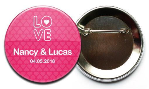 Hochzeit-Button Nr. 44 Love mit Sicherheitsnadel