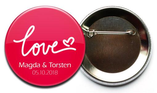 Hochzeit-Button Motiv 45 Red Love mit Nadelverschluss