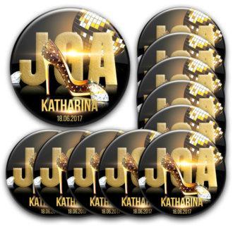 Gold und glamour: JGA Buttons für Frauen mit Stil und Chic