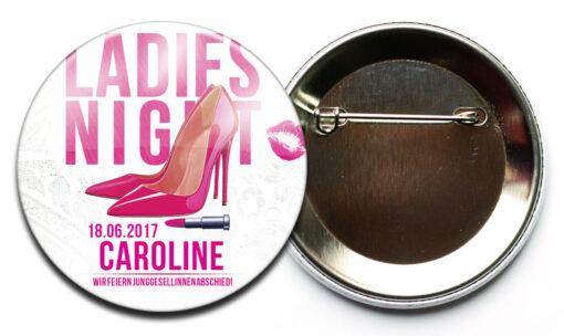 JGA Frauen Accessoire Button 22 pink mit Name und Datum Sicherheitsnadel