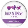 Hochzeit Button mit 3 Herzen personalisiert und einzel mit Name bedruckt