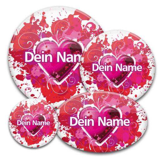 Namensbuttons in rot mit Herz für Flirtparty, Speed-Dating oder Valentinstag