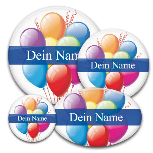 Namens-Buttons mit bunten Luftballons