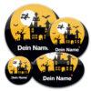 gruselige Namensbuttons für Halloween und Fasching