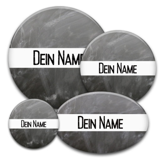 Namensbuttons im Design einer Kreidetafel bedrucken lassen