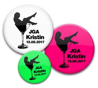 Frau im Sektglas burlesque JGA Ansteckbuttons mit Name und Datum