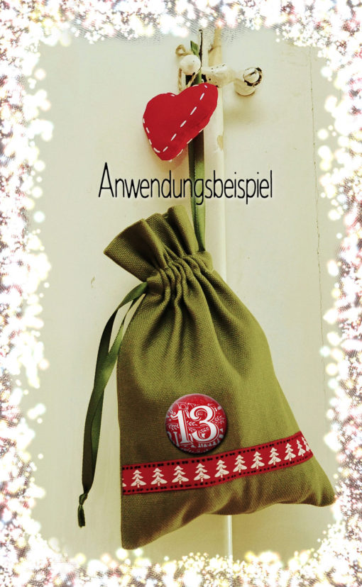 Adventskalenderbutton Anwendungsbeispiel 24 Advents-Kalenderbuttons XMAS 1