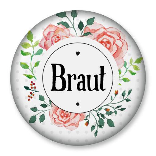 Brautanstecker Junggesellinnenabschied Hennight Bridal Shower 76 mm rund