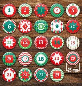 XMAS 2 Adventskalender Zahlenbuttons 24 Stück
