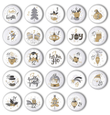Kalender Zahlen Buttons XMAS-4 zum basteln