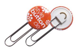 Button 25 mm mit Clip / Spangenclip / Büroklammer
