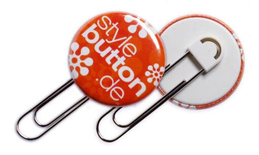 Button 32 mm Clipverschluss: Spangenclip als bedruckte Büroklammer