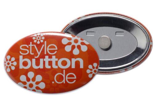ovaler Button mit Supermagnet abnehmbar