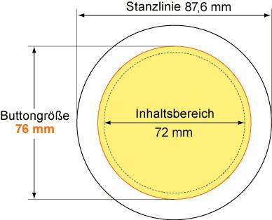 Vorgabe Button 76mm Buttons 76 mm mit Kombiclip