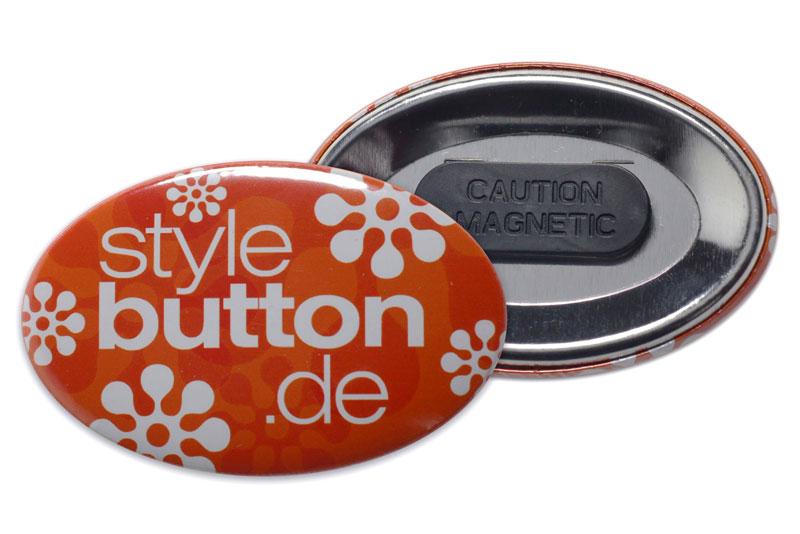 bedruckter ovaler Button mit Kleidungsmagnet Magnethalter