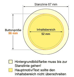 stanzlinie67mm Button 56 mm mit Kleidungsmagnet / Textilmagnet