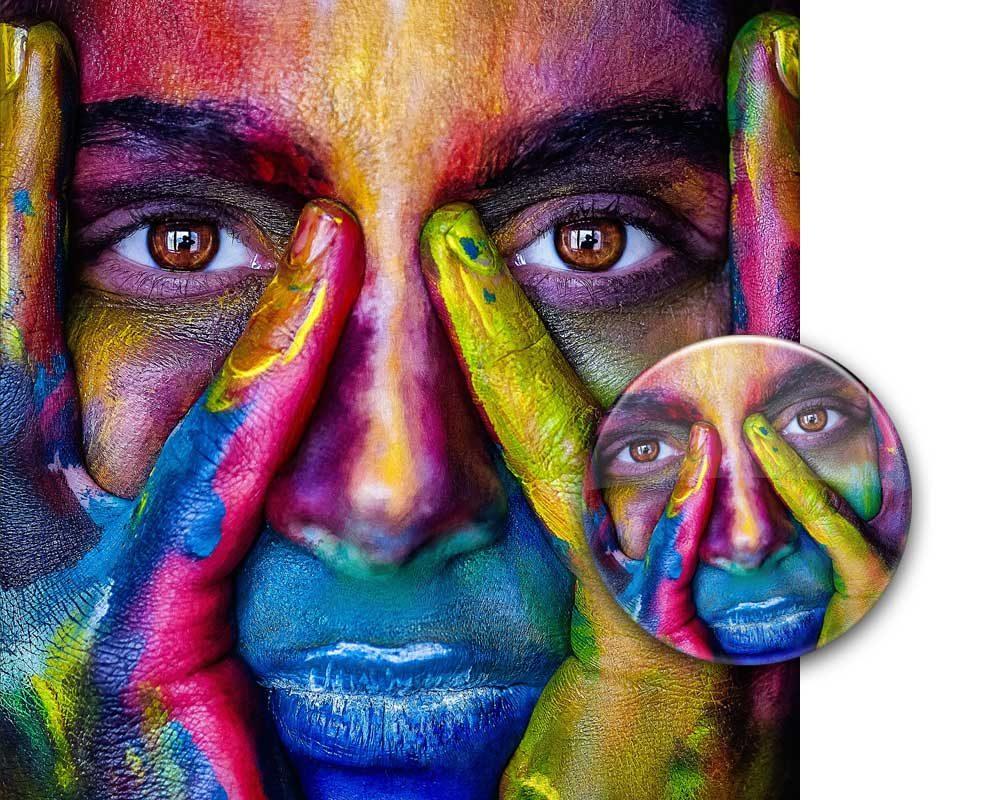 Premiumqualität Echtfotodruck Details und leuchtende Farben
