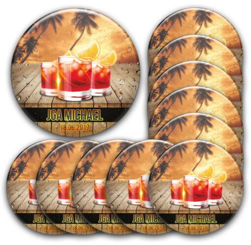 Buttons-Set Junggesellenabschied Cocktails Bar Palmen Sommer personalisiert