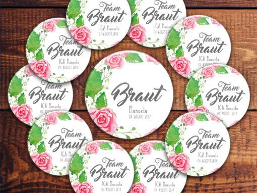 Sticker-Set für JGA mit Brautbutton und für das Brautteam Modell 32