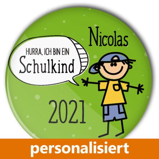 personalisierter Button Schulkind Junge