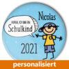 individualisierter Button Schule Schulkind blau Einschulung