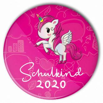 """pinker Einhorn-Button """"Schulkind 2020"""", kleines, preiswertes Geschenk zum Schulanfang"""