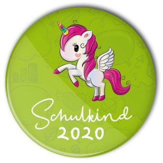 Schulkind 2020-Button grün mit Einhorn