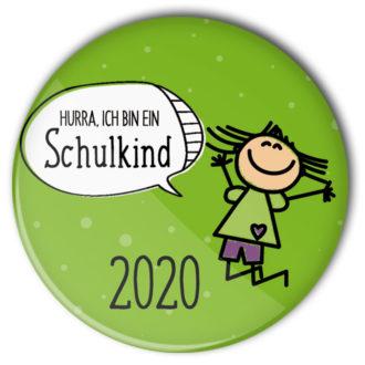 Hurra ich bin ein Schulkind 2020: grüner Ansteckbutton für Mädchen für die Zuckertüte