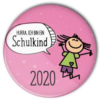 """rosa Anstecker mit hüpfendem Mädchen """"Hurra ich bin ein Schulkind"""" als Geschenk zur Schuleinführung"""