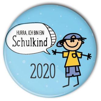 hellblauer Schulkind-Button für Jungs 2020