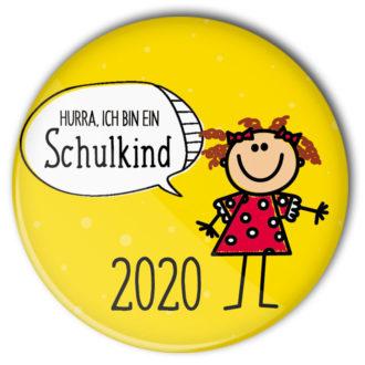 gelber Schulkind-Button 2020 mit Mädchen