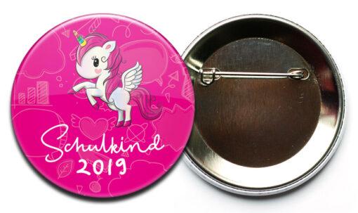 Schulkind 2020 Button Einhorn pinkfarben mit Sicherheitsnadel