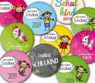 Schulkind-Buttons zur Einschulung