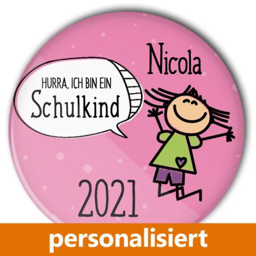personalisierter Button zur Einschulung Mädchen