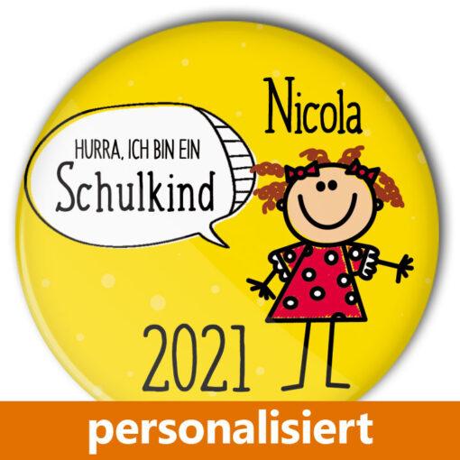 individualisierter Button Schule Schulkind gelb Einschulung