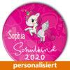 Einhorn Button Schulkind Schulanfang pink