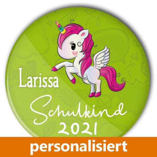 Schulkind Einhorn Button 2021