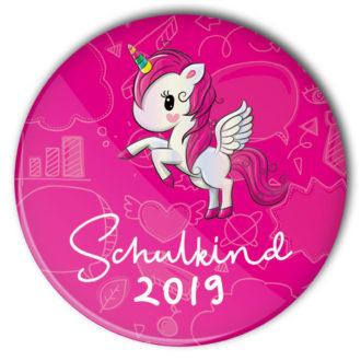 Schulkind Button #1 Einhorn pink