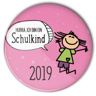 Schulkind Button #5 Mädchen rosa