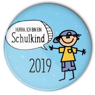 Schulkind Button #7 Junge hellblau