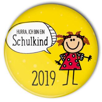 Schulkind Button #9 Mädchen gelb